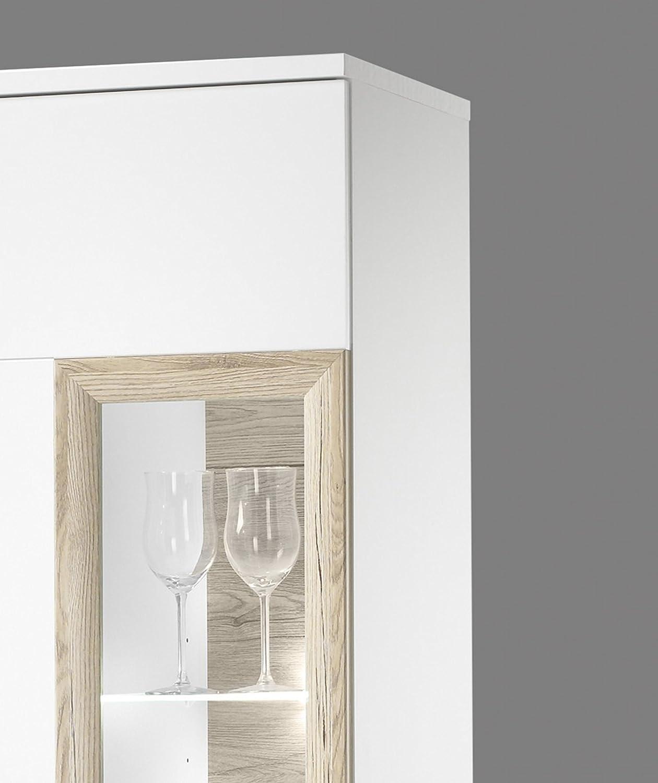 AVANTI TRENDSTORE in laminato di colore bianco con anteriore in bianco lucido e quercia San Remo Vetrina da soggiorno con illuminazione LED compresa dimensioni: 60x197x38 cm Heek