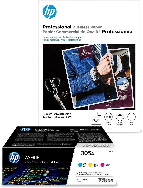 HP 305A 3 Color Toners C,Y,M + HP Brochure Paper, Laser, 8.5 x 11, 150 sheets, Matte