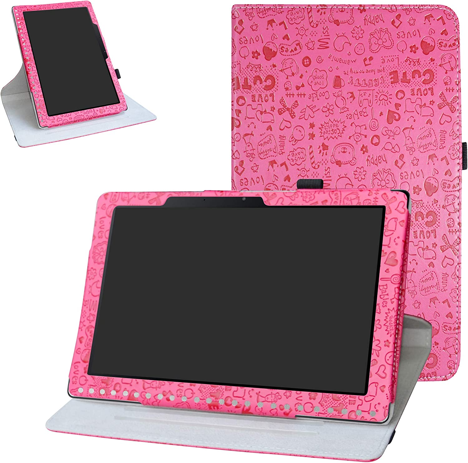 Acer Iconia One 10 B3-A50 Rotating Case,Bige 360 Degree Rotary Stand with Cute Pattern Cover for Acer Iconia One 10 B3-A50 10.1 inch 2018 Tablet (Not fit Acer A3-A50),Rose Red