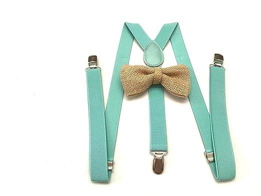 Amazon Com Beige Burlap Bow Tie For Men S Teal Suspenders Groomsmen