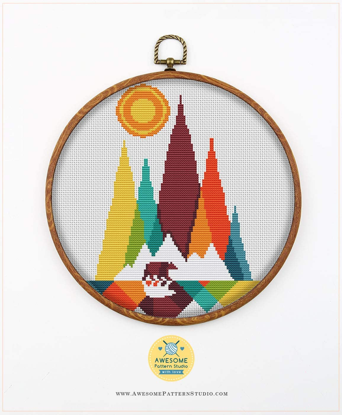 Embroidery Pattern Kit Threads Fabrick and 4 Printed Color Schemes Inside Needles Rocky Mountain National Park Square K465 Counted Cross Stitch KIT#2