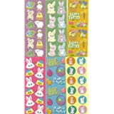 """100 ~ Easter Sticker Sheets ~ Over 1000 Stickers ~ Sheets Approx. 2"""" X 6"""" ~ New ~ Bunnies, Eggs, Chicks, Baskets, Daffodils, Frogs, Turtles, More!"""