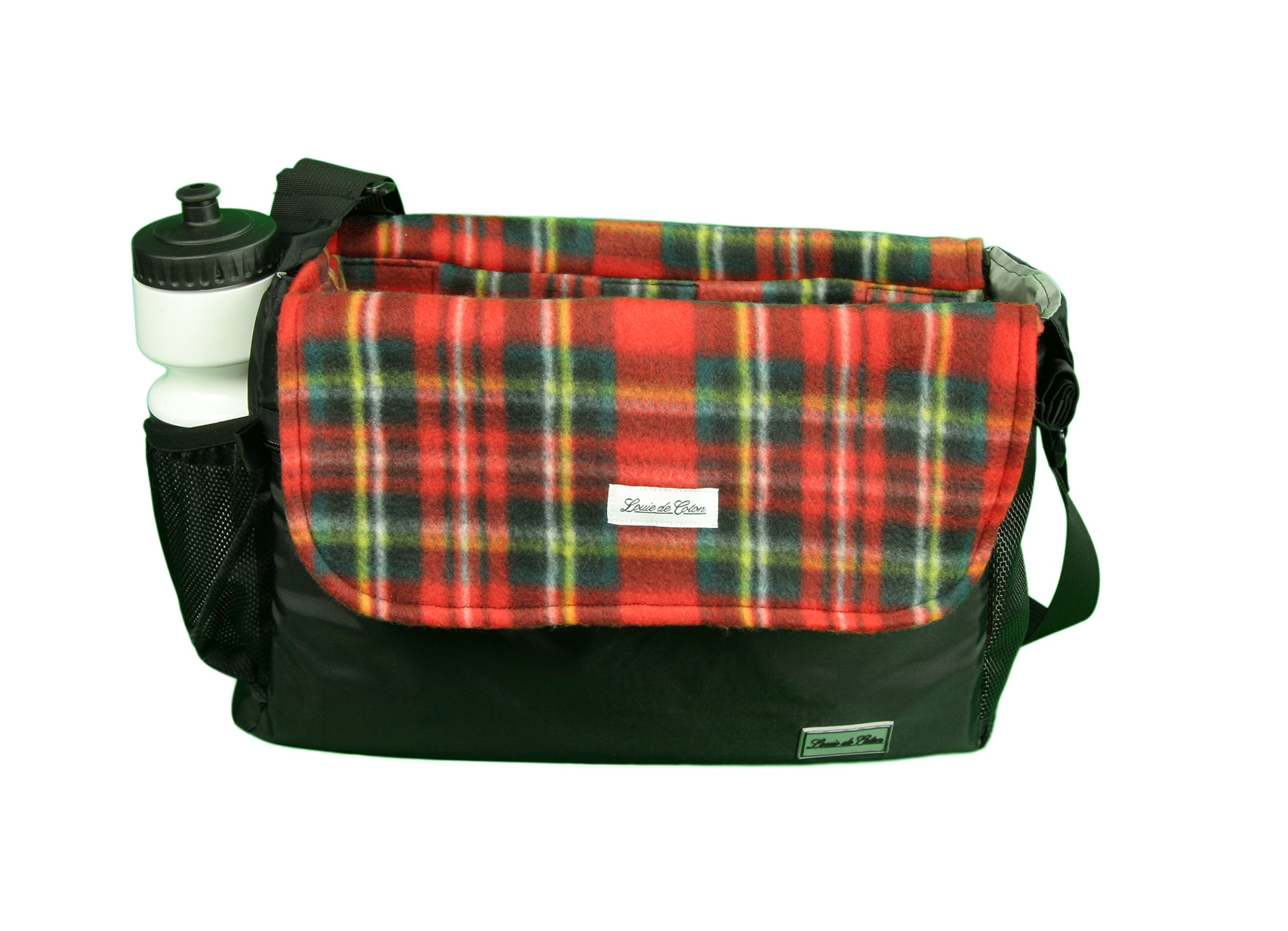 Louie de Coton Made in USA Small Dog Soft Sling Carrier Bag with Removable Fleece Blanket/Liner (Classic Plaid)
