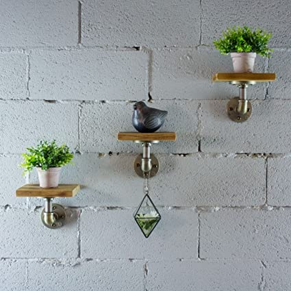 Furniture Pipeline 3 Piece Ames Industrial Vintage 8-Inch Decorative Wall Mount Floating Pipe Shelf Metal And Reclaimed Aged Finish With Solid ...