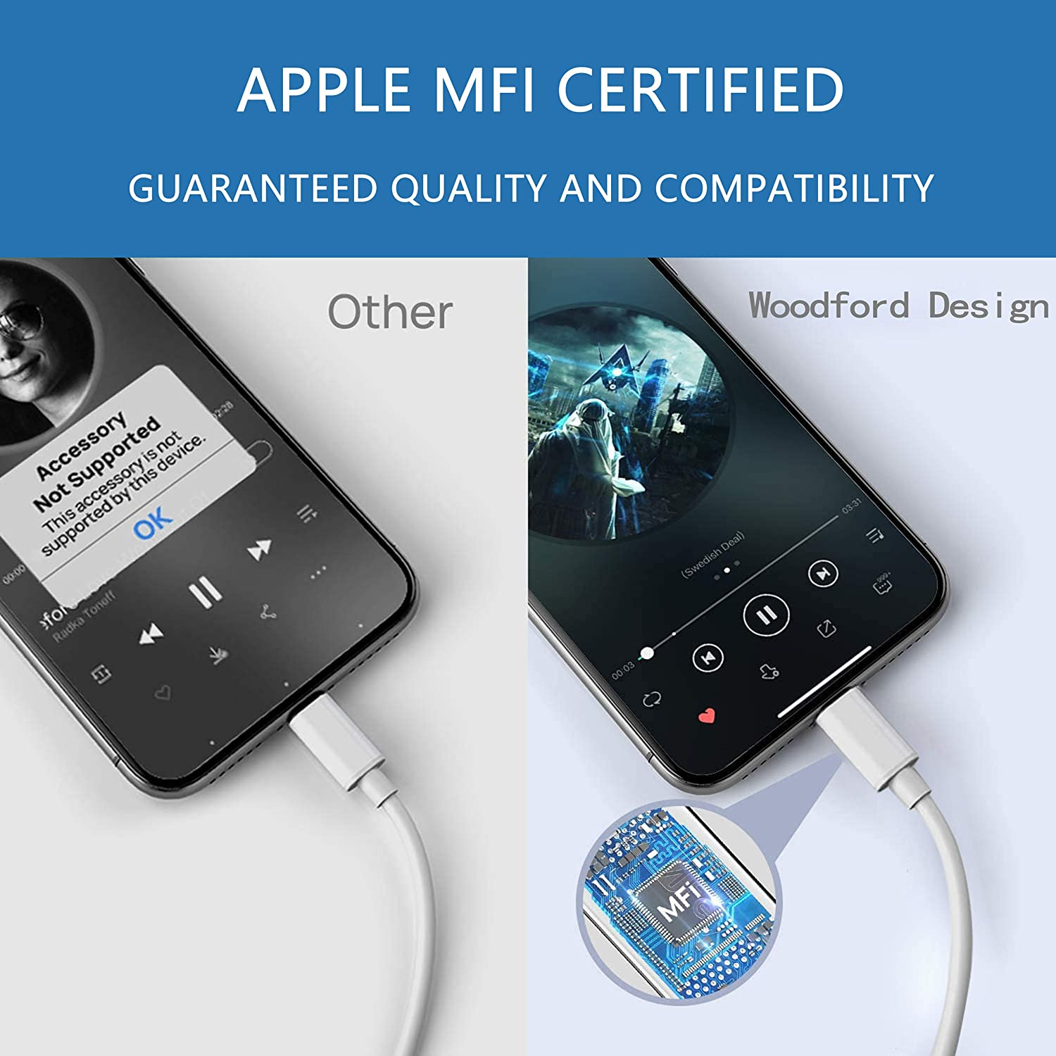 iPhone 11 Headphone Jack Adapter, Apple MFi Certified Lightning to 3.5mm Earbuds Headphone Aux Audio Dongle Splitter Jack Adaptor Compatible for iPhone 11//11 Pro//11 Pro Max//X//XR//XS//XS Max//8//7//7P