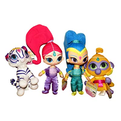 Shimmer and Shine with Tala and Nahal ~ 8 Inch Shimmer Plush Set of 4 Dolls: Toys & Games