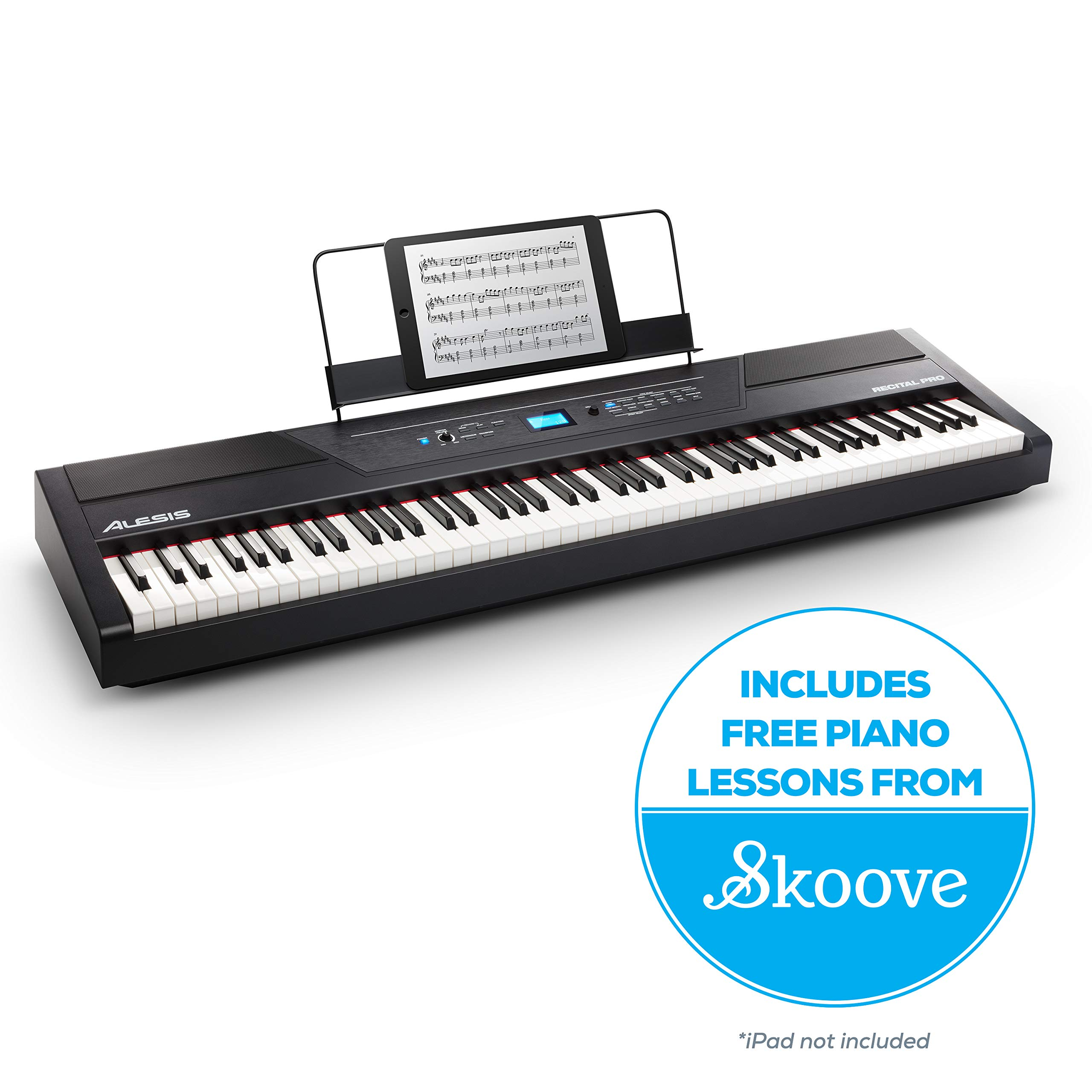 Alesis Recital Pro |  Digital Piano / Keyboard with 88 Hammer Action Keys, 12 Premium Voices, 20W Built in Speakers, Headphone Output & Powerful Educational Features by Alesis