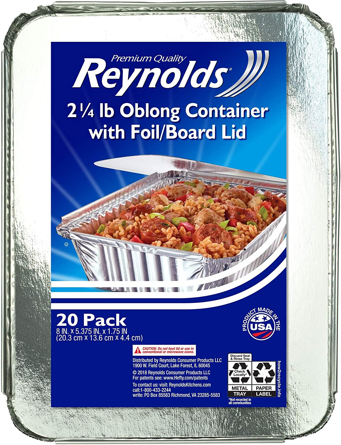 Reynolds to-Go Aluminum Pans with Lids, 8x5.375x1.75 Inch, 20 Count