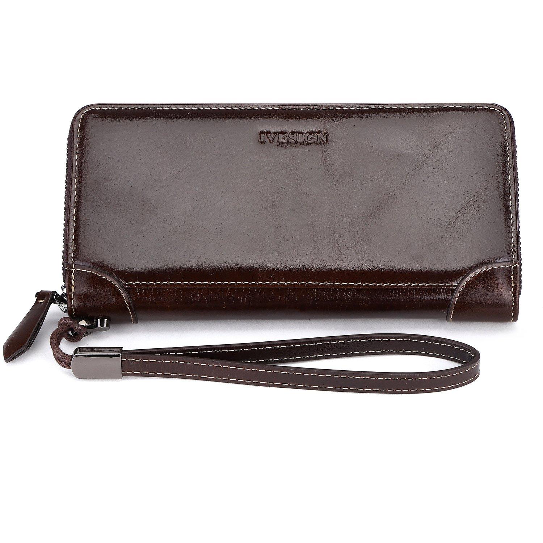 IVESIGN Womens Genuine Leather Wristlet Zipper Clutch Wallet RFID Blocking Credit Card Phone Holder Hand Purse Large Capacity (B-Coffee)