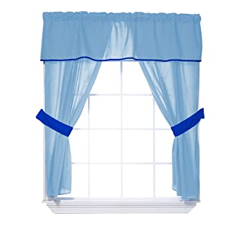 Baby Doll Bedding Solid 5-Piece Window Valance Curtain Set Blue