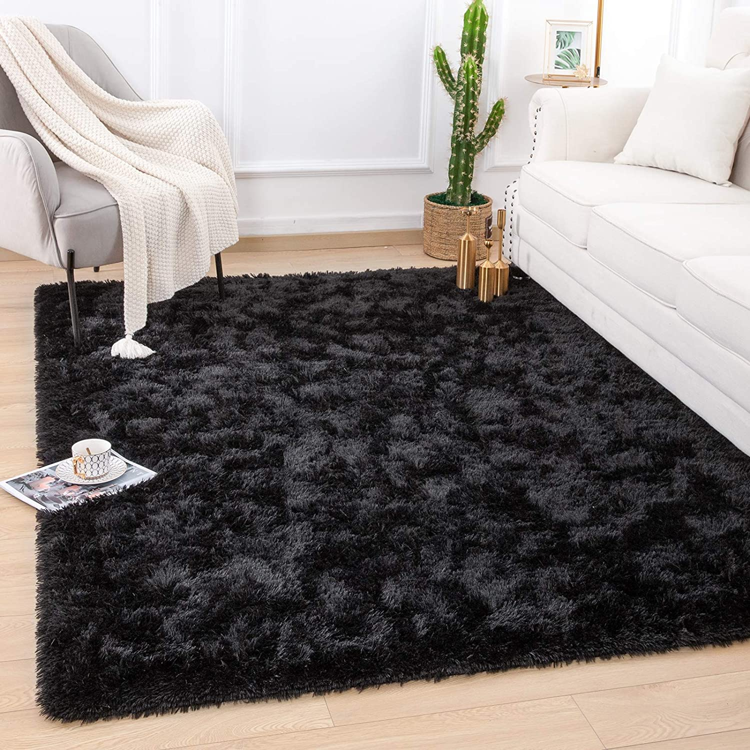 Quenlife Fluffy Bedroom Rug Plush and Soft Nursery Rugs Shaggy Carpet for Kids Grils Room Furry Children Home Decoration Shag Floor Rugs with Anti-Slip Bottom, 3 x 5ft, Black