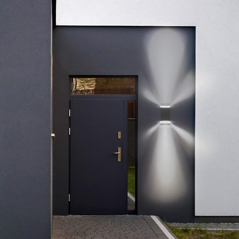 SSC-LUXon 2er Set SELA Au/ßenleuchte Wand Up /& Down f/ür 2x GU10 Fassade /& Garten Wandleuchte grau Au/ßen IP54 f/ür Hauswand