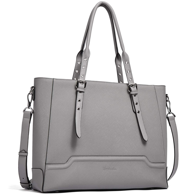 BOSTANTEN Women Briefcase Leather Laptop Shoulder Handbag Fit Up to 15.6 inch Tote Work Purses Cross-Body Bag Grey