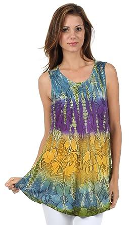 size 40 fd3ce e164f Sakkas Ombre Floral Bindungsfärbung ausgestellte Hem ärmellose Tunika Bluse  aus Baumwolle