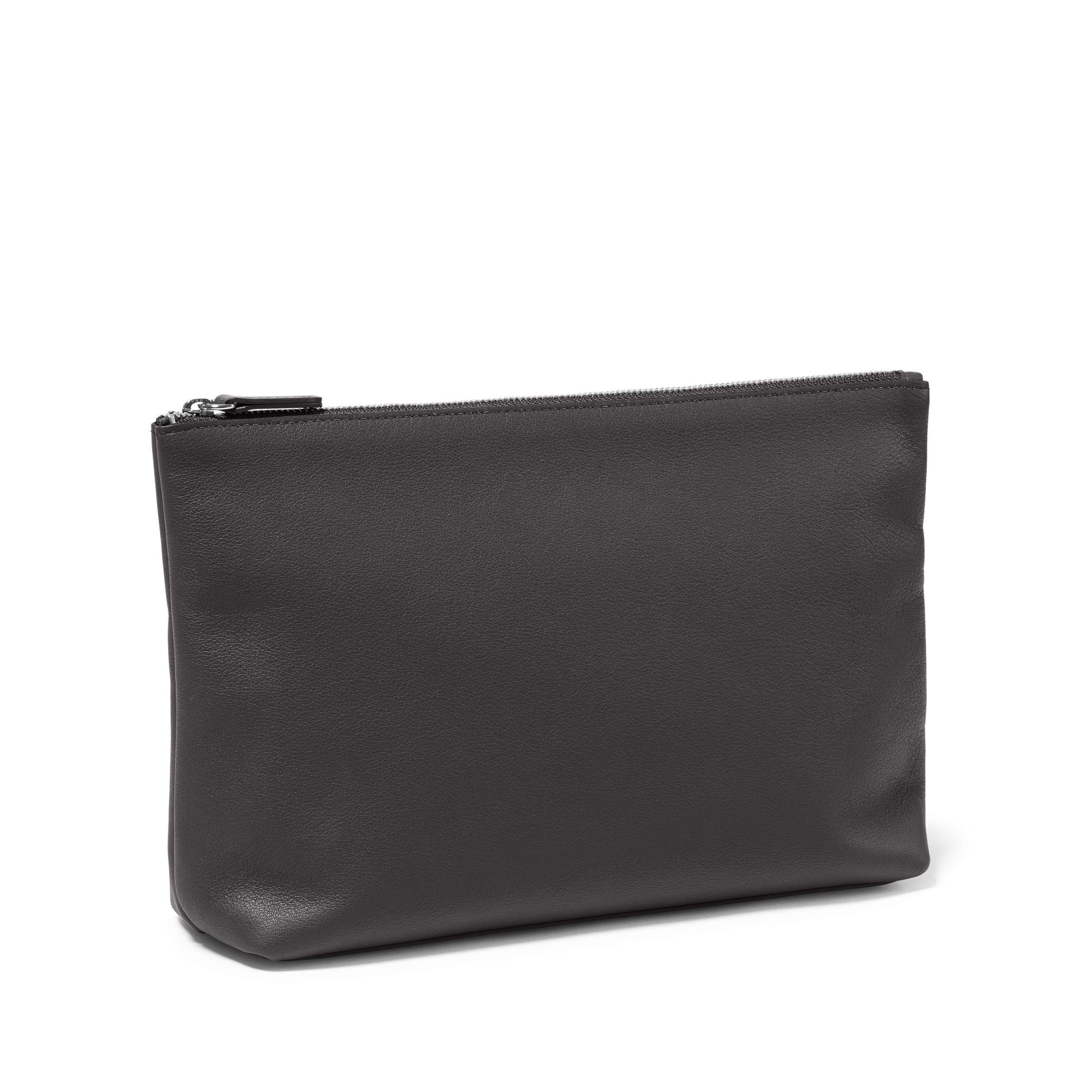 Large Accessories Pouch - Full Grain Leather Leather - Black Onyx (black)