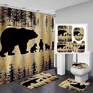 Camille&Andrew 4PCS/Set Black Rustic Bear Shower Curtain, Country Farmhouse Mother Bear & Cute Baby Bears Wild Animal Bathroom Decor, Soft Fabric Bath Curtain, Non-slip Bathroom Mat Bath Rugs, Style 3