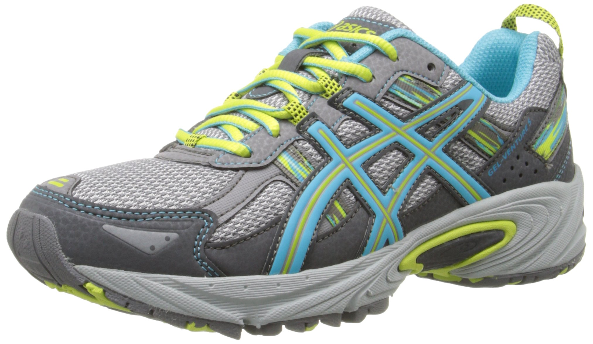 ASICS Women's Gel-Venture 5 Running Shoe, Silver Grey/Turquoise/Lime Punch, 5 M US