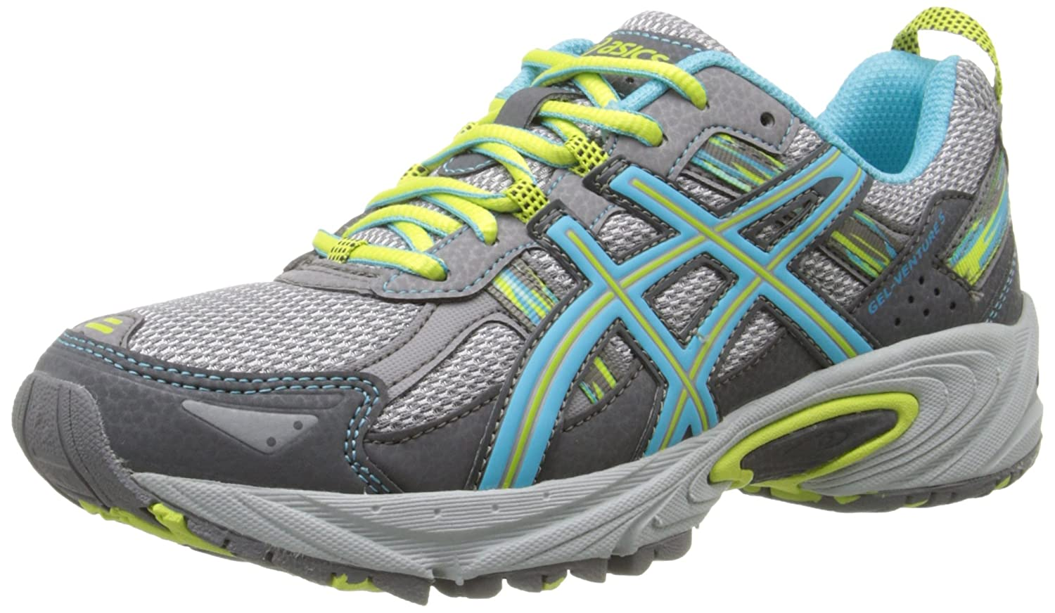 Silver Grey Turquoise Lime Punch ASICS Women's Gel-Venture 5 Running shoes