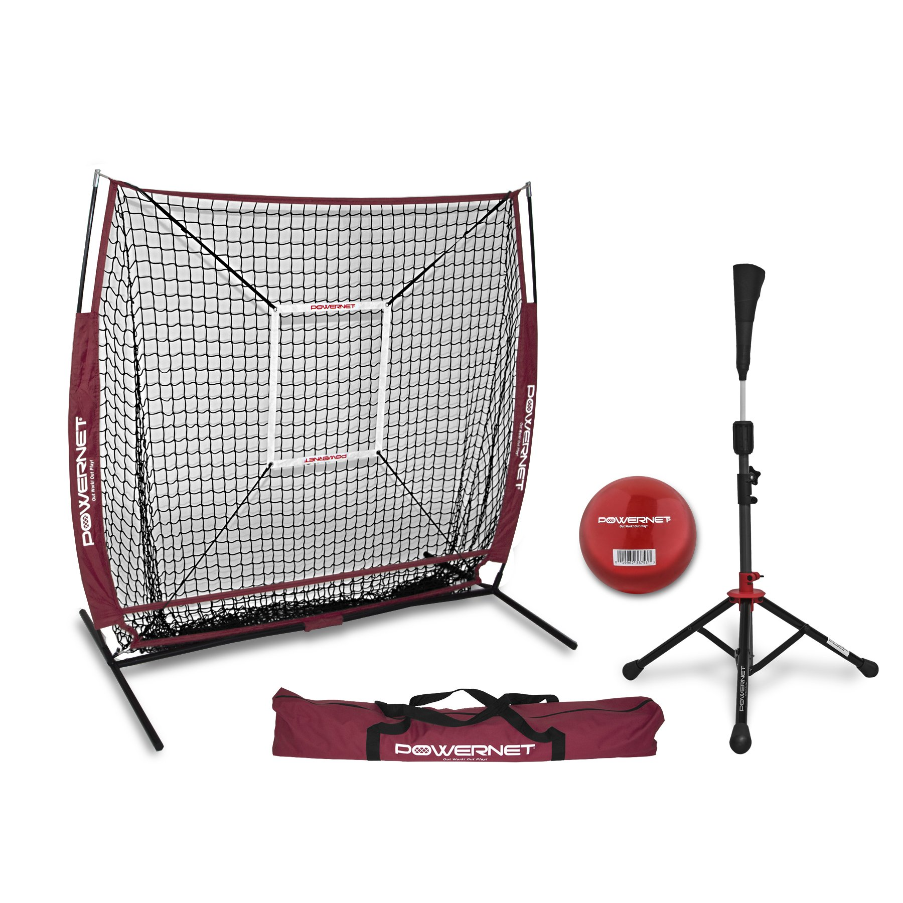 PowerNet 5x5 Practice Net + Deluxe Tee + Strike Zone + Weighted Training Ball Bundle (Maroon) | Baseball Softball Pitching Batting Coaching Pack | Work on Pitch Accuracy | Build Plate Confidence