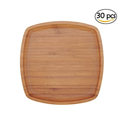BambooMN 8u0026quot; x 8u0026quot; Bamboo Ecoware Reusable Dinnerware Square Plates for Catered Events  sc 1 st  Amazon.com & Amazon.com: BambooMN 8