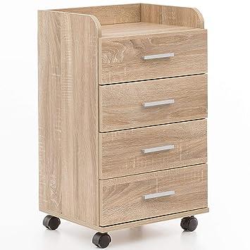 Kleinmöbel & Accessoires Rollcontainer Mdf-holz Schubladencontainer Standcontainer Bürocontainer Sonoma