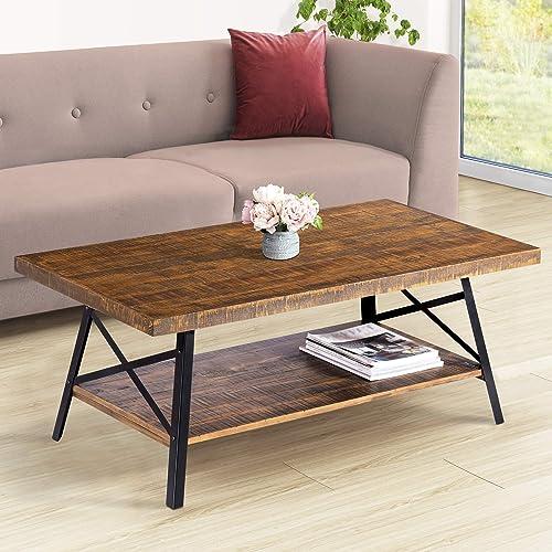PrimaSleep 46 W Solid Wood Top Steel Legs Cocktail Coffee Sofa Dining Garden Table, Rustic Brown