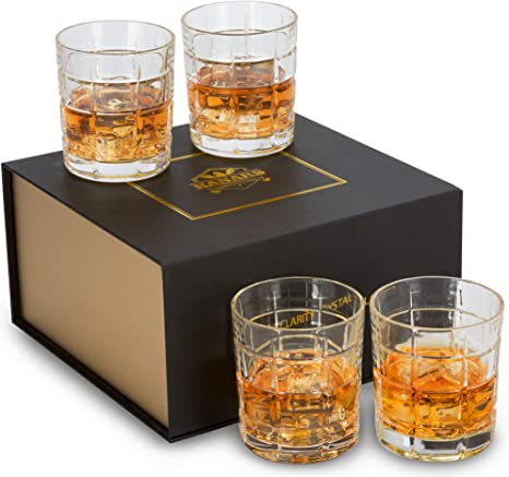 KANARS Whisky Glass Set of 4 Rock Tumblers 300ml for Scotch Whiskey Drinking