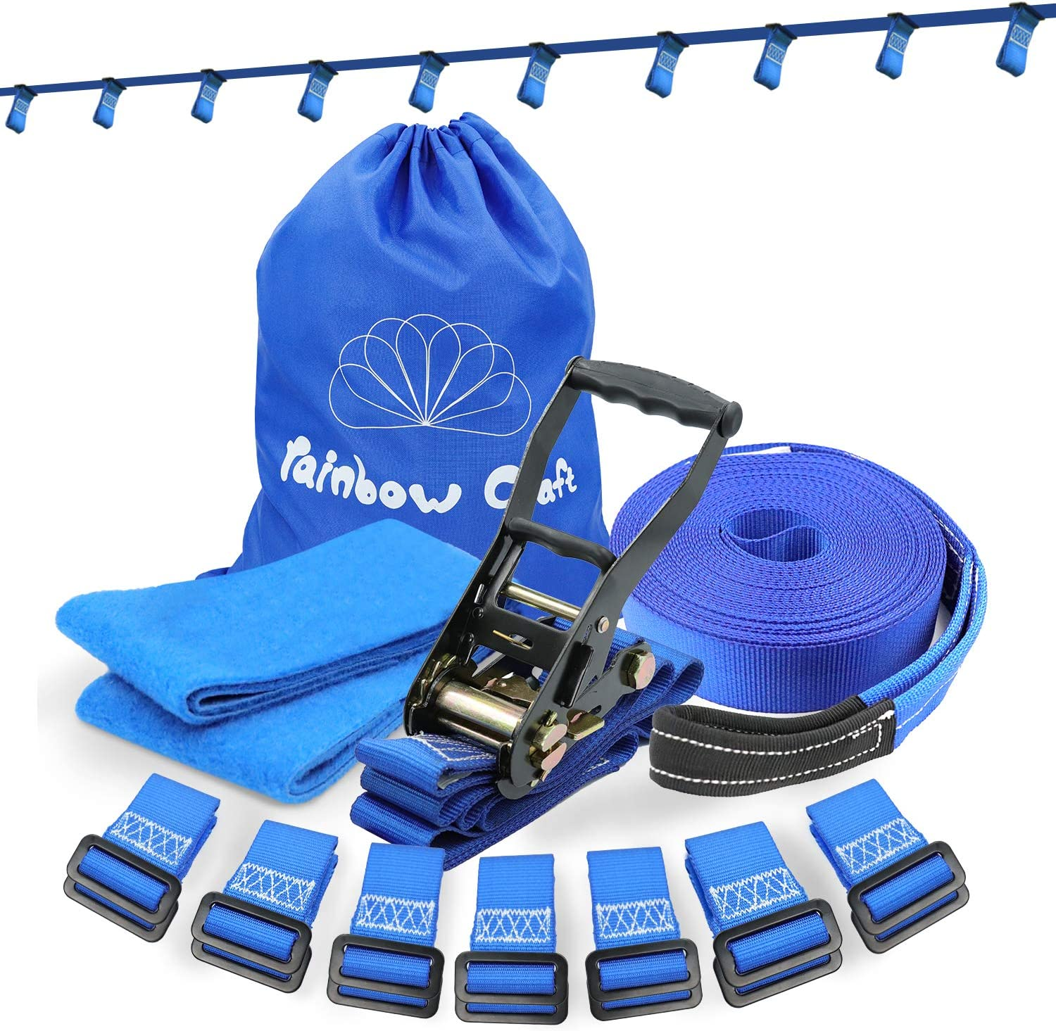 Rainbow Craft Ninja Line for Attaching Kids Ninja Obstacle Accessories - High Duty Towing Strap Grade Ninjaline Slacking Line - with 14pc Removable Buckles - Blue Color