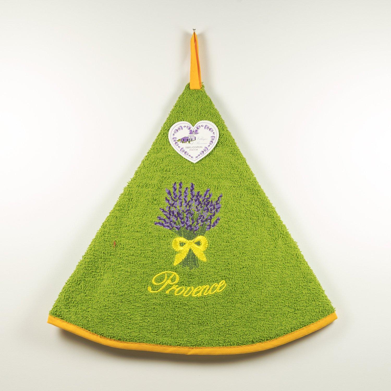Embroidered Round Terrycloth Hand Towel–100% Cotton Plain Yellow Ø65cm–Lavender Bouquet Villages de Provence