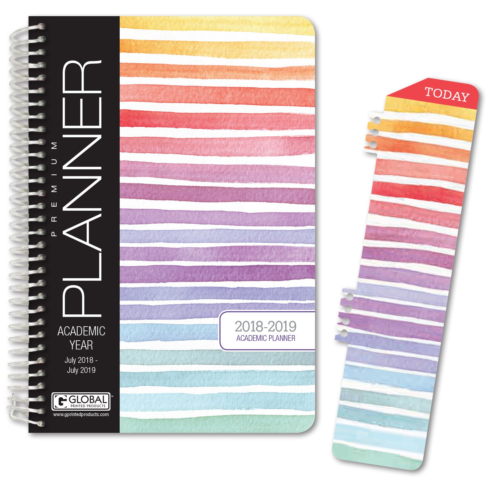 HARDCOVER Academic Year Planner 2018-2019 - 5.5''x8'' Daily Planner/ Weekly Planner / Monthly Planner / Yearly Agenda. Bonus BOOKMARK (Pastel Stripes)