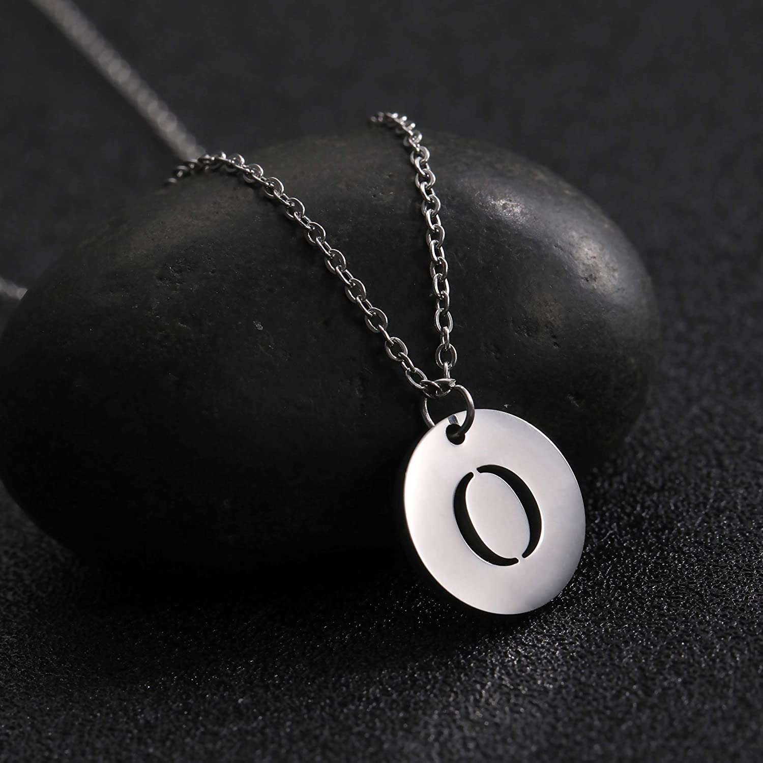 VASSAGO Stainless Steel Initial 26 Letter Round Disc Double Side Alphabet Pendant Necklace A-Z for Women Men