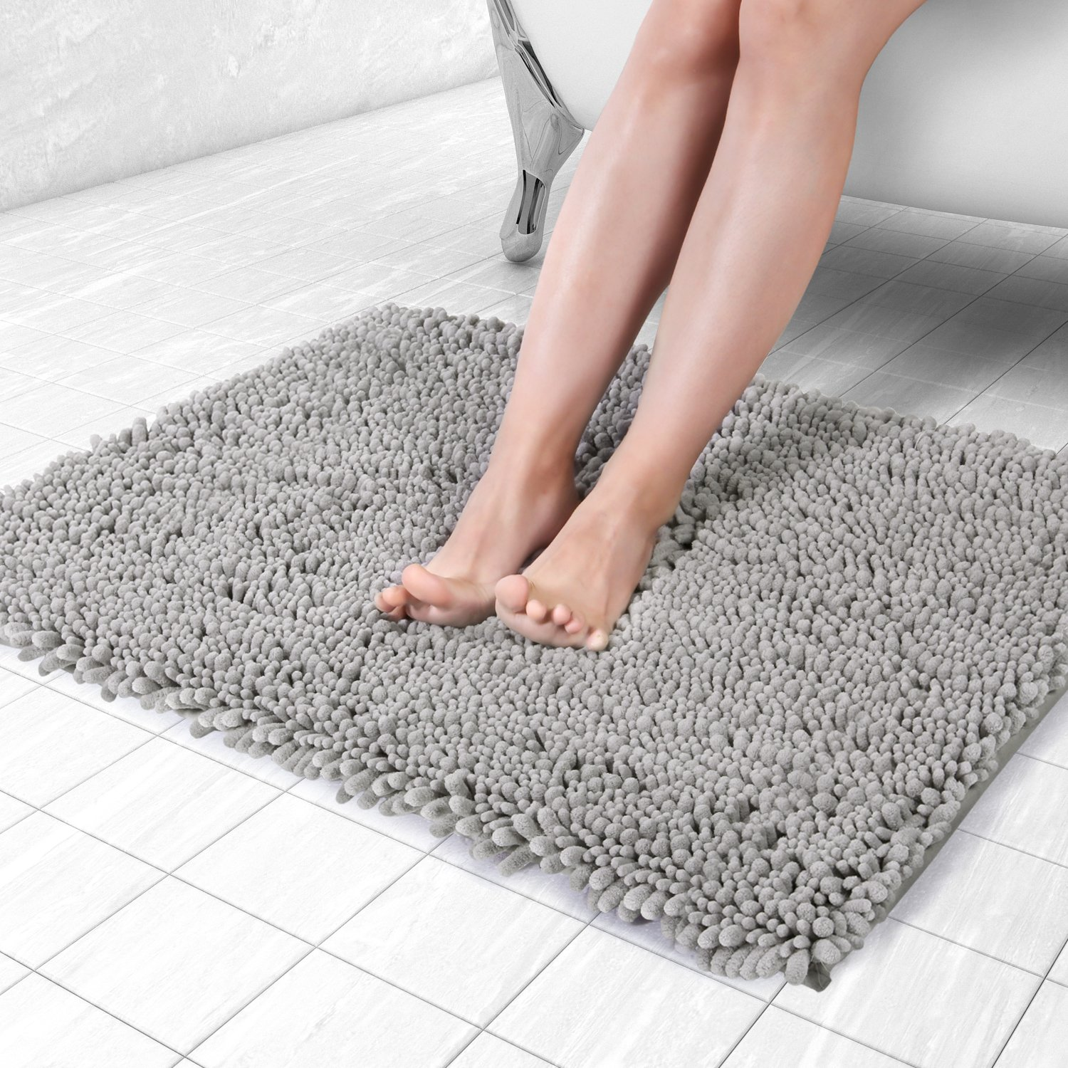 Norcho Bath Mat Soft Chenille Rug Water Absorbent with Non-slip Back for Bathroom 20 x 31 inch Grey