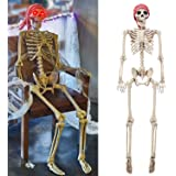 yosager 5 ft Pose-N-Stay Life Size Skeleton with Glowing Eyes, Human Bones Full Body Realistic with Posable Joints, Pose…