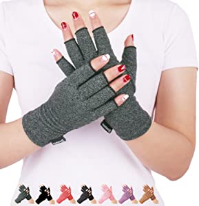 Arthritis Compression Gloves Relieve Pain from Rheumatoid, RSI,Carpal Tunnel, Hand Gloves Fingerless for Computer Typing and Dailywork, Support for Hands and Joints (M, Grey)