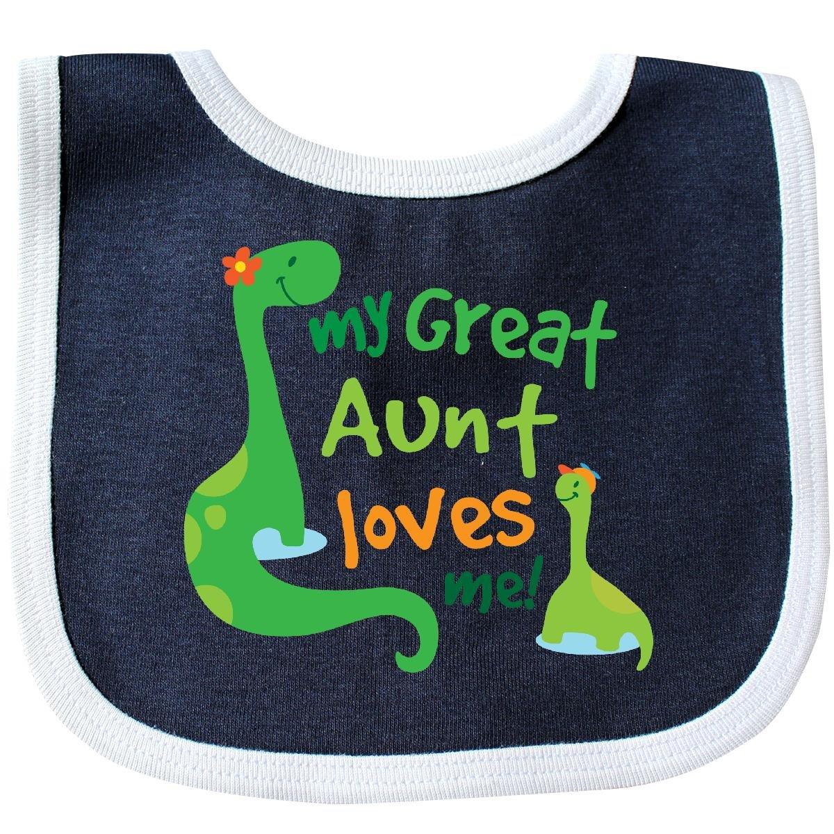 Inktastic - My Great Aunt Loves Me Baby Bib Navy/White