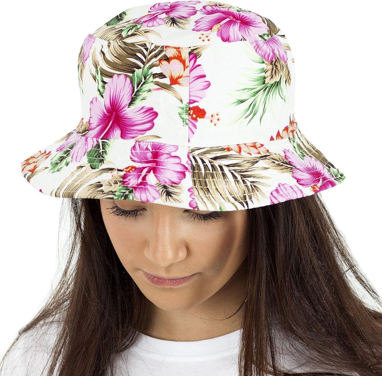 beidseitig tragbar Baumwolle Fischerhutdesign Reversibel TOSKATOK/® UPF 50+ Damen Buschsonnenhut im Retrolook mit Blumenmuster