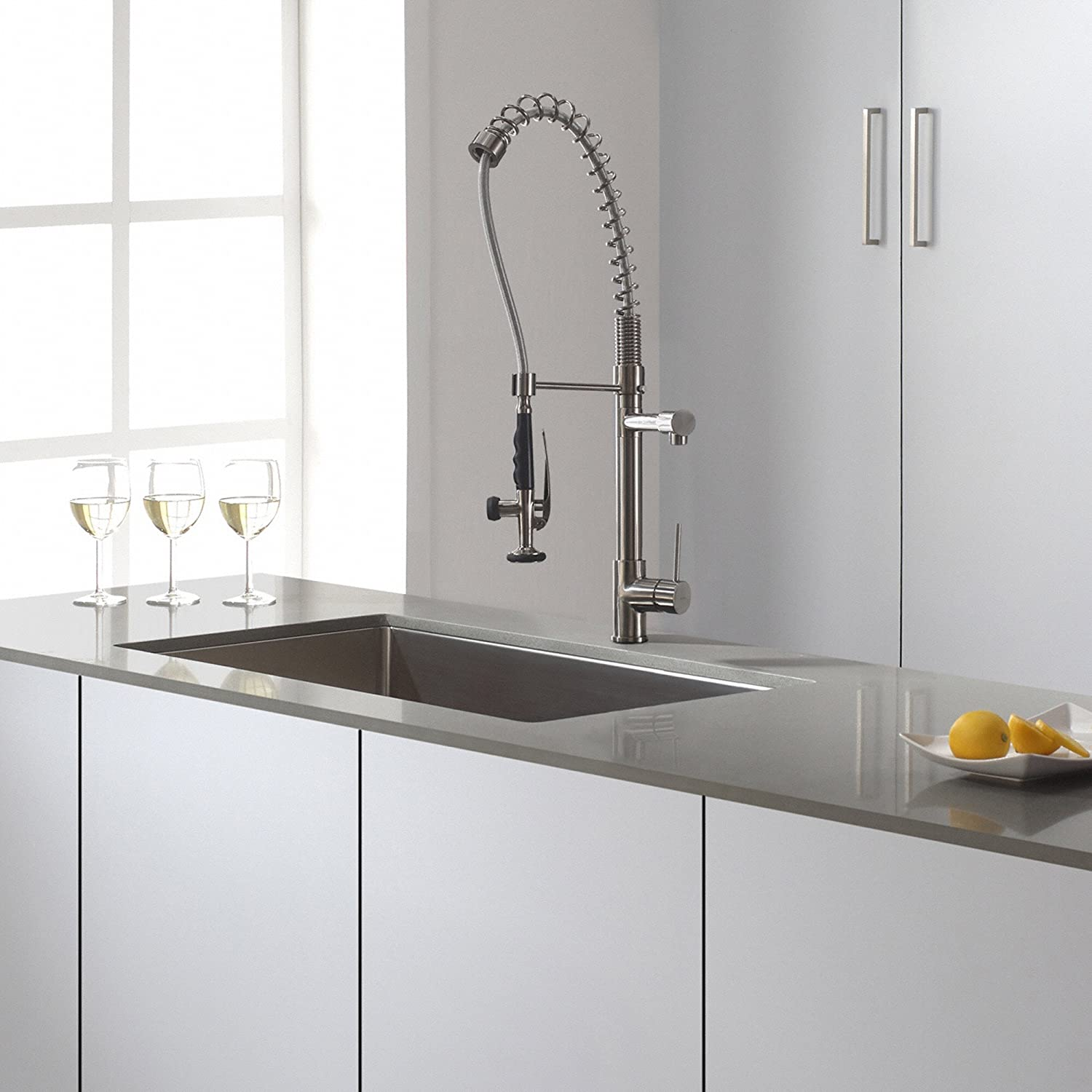 Kraus KPF-1602SS Single Handle Pull Down Kitchen Faucet Commercial ...