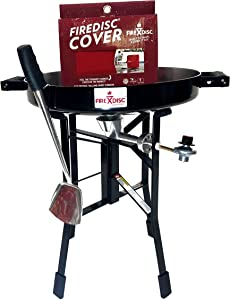 """VALUE BUNDLE - ORIGINAL FIREDISC – 24"""" SHORT (LIMITED EDITION) - - Portable Propane Cooker Black, Ultimate Cooking Weapon, Fireman Red Cover…"""
