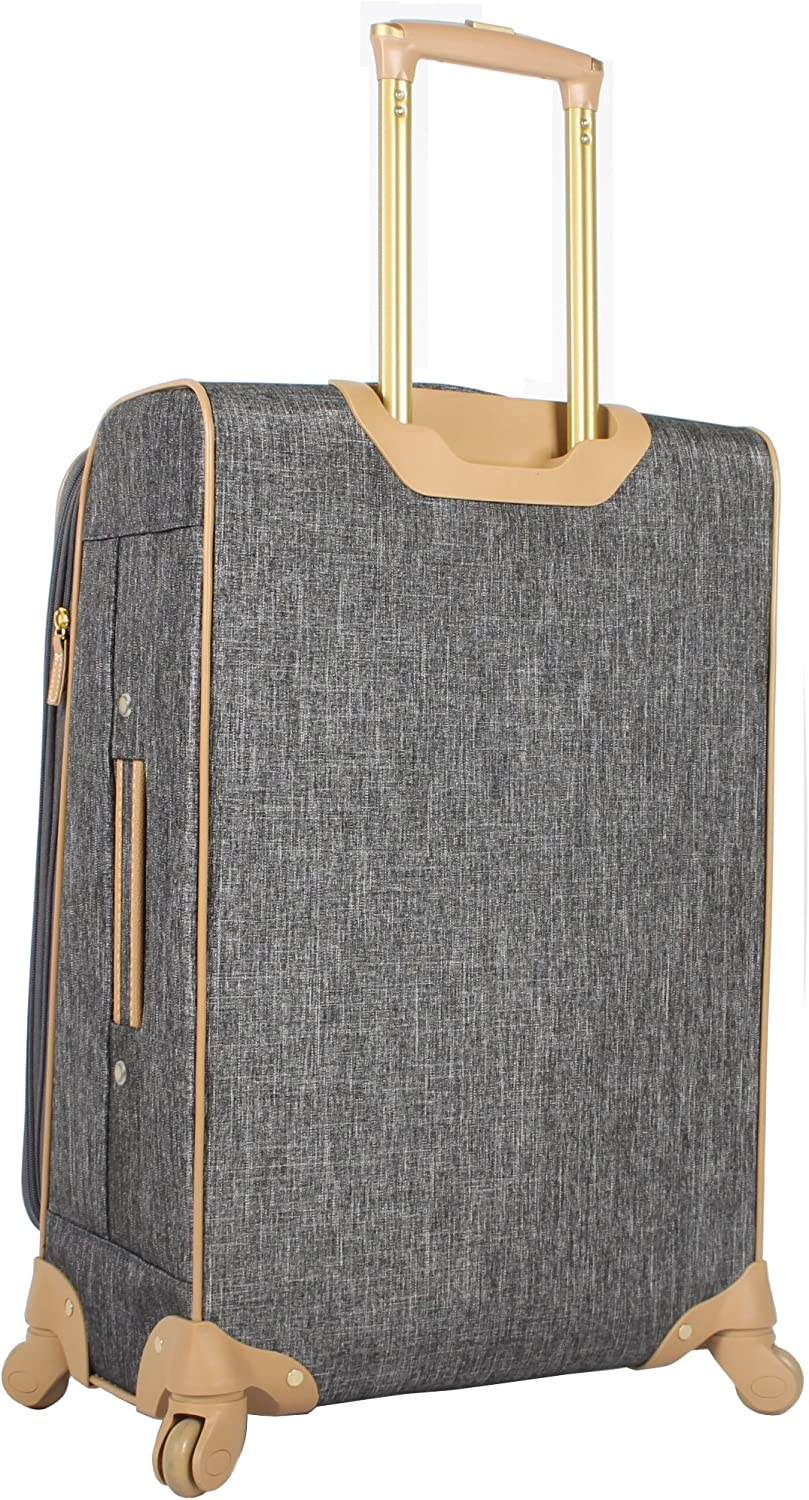 Paige Silver Expandable 24 Inch Softside Bag Durable Mid-sized Lightweight Checked Suitcase with 4-Rolling Spinner Wheels Nicole Miller Designer Luggage Collection