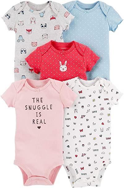 ff451819d Carter's Baby Girls 5-Pack Original Short Sleeve Bodysuits (Snuggle is Real)  (