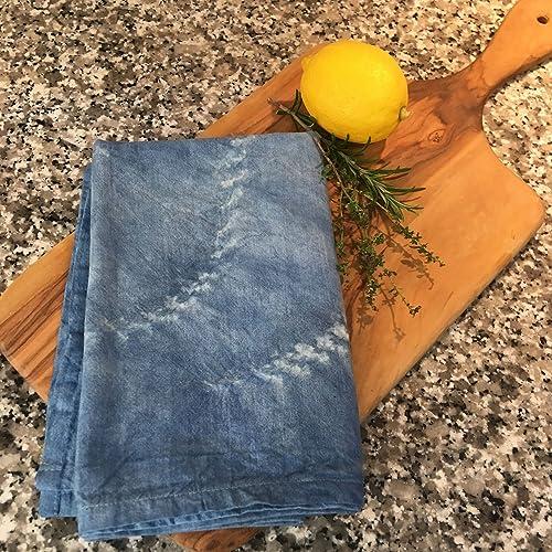 Shibori Indigo Flour Sack Towel Natural Dyed: Amazon co uk