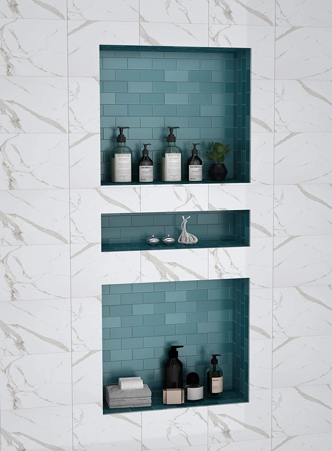 Amazon Com Shower Niche Recessed Shower Shelves Abs Plastic Bathroom Shower Cube16 34 Inches With Texture Kitchen Dining