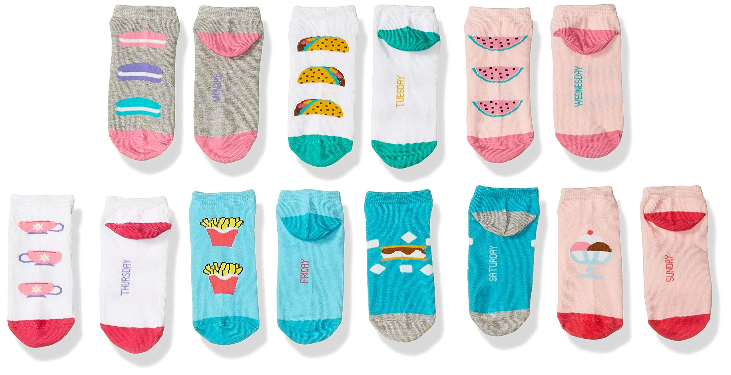 Spotted Zebra Kids' 12-Pack Low Cut Socks, Food Days of the Week , Large (3-6) by Spotted Zebra (Image #2)