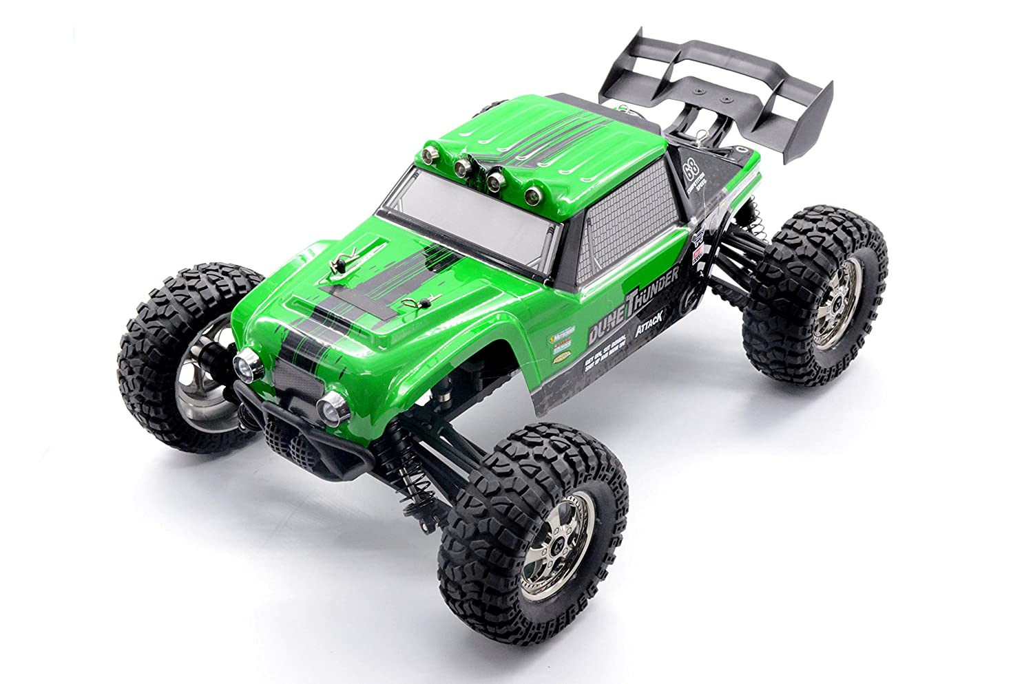 KELIWOW 2.4Ghz 1/12 Scale 25MPH Waterproof RC Car, 4WD Desert Off-Road RC Truck with LED Lights - Green