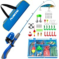 PLUSINNO Kids Fishing Pole,Portable Telescopic Fishing Rod and Reel Full Kits, Spincast Youth Fishing Pole Fishing Gear…