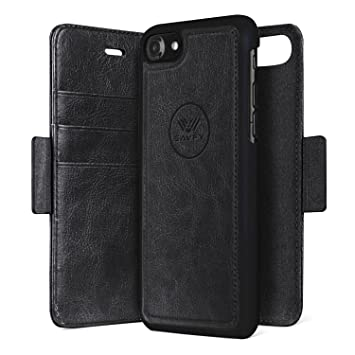 buy online f46e0 2e7f6 iPhone 7 Wallet Folio Magnetic Detachable Case, SAVFY 2in1 Luxury Series  Premium Vegan Leather Flip Wallet Card Holder with Kickstand Slim PC Back  ...