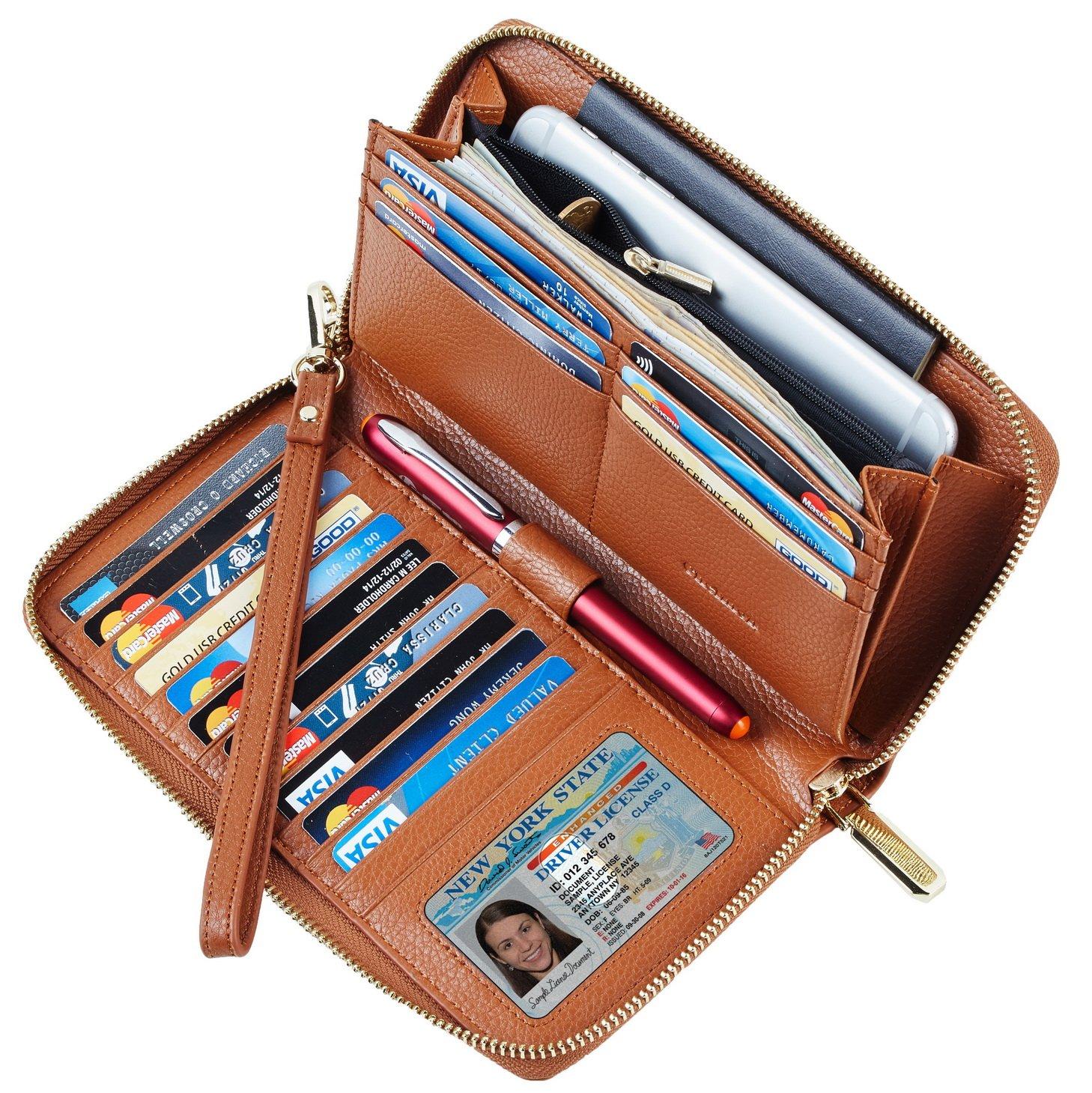 SimpacX Chelmon Womens RFID Blocking Wallet Genuine Leather Zip Around Clutch Large Travel Wallet Purse Passport Holder(brown)