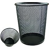 Lightweight and Sturdy Circular Mesh Waste Bin (Black) by Bid Buy Direct