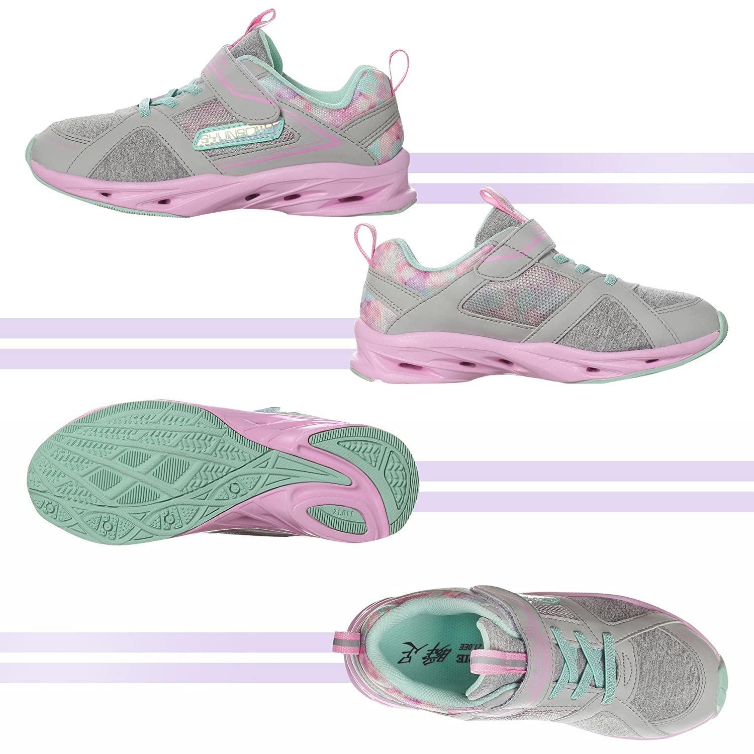 Flat Outsole /Shockproof /& Lightweight with Bounce Capacity SYUNSOKU Girls Running Shoes Storm Max Kids Shoes White