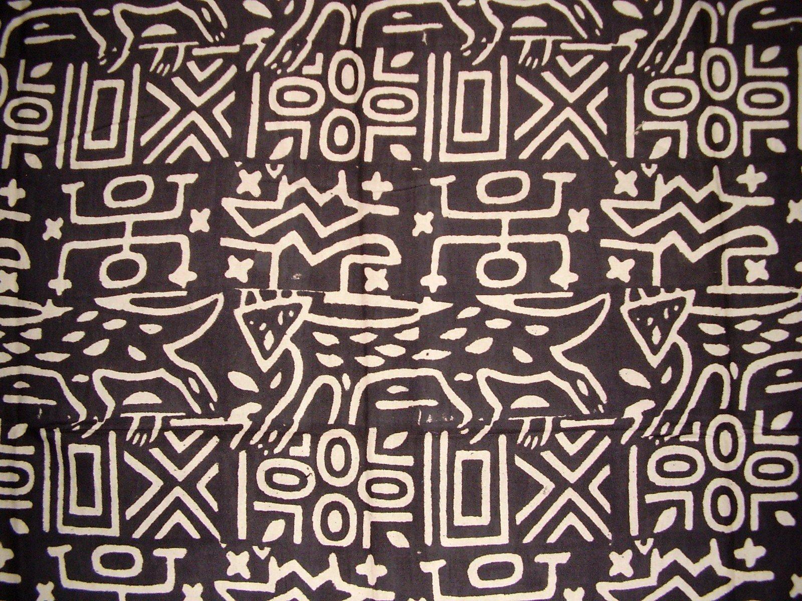 India Arts Primitive Tribal Mud Cloth Tapestry or Spread Cotton 104'' x 104'' Queen Black